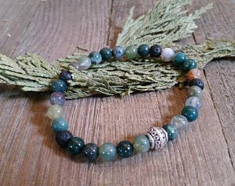 Aromatherapy Stretch Bracelet Natural Gemstone Lava Stone Essential Oil Multicolor Green Tan Blue White Indian Agate Jewelry Bead