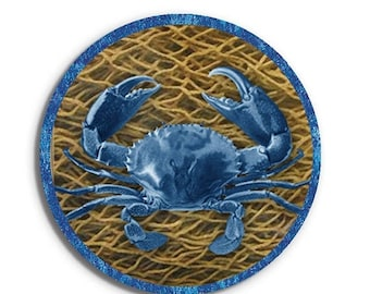 "50% OFF - Blue Crab Pocket Mirror, Magnet or Pinback Button - Wedding Favors, Party themes - 2.25""- MR536"