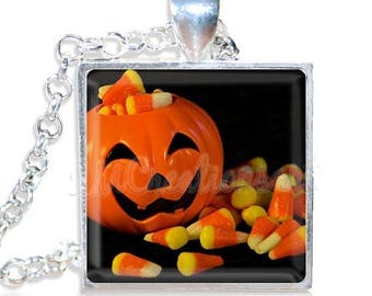 "20% OFF - Halloween Pumpkin Candy Corn 1"" Square Glass Pendant or with Necklace - SQ112"
