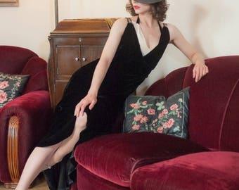 Memorial Weekend Sale - Vintage 1930s Dress - Elegant Black Silk Velvet Bias Cut 30s Evening Gown with Layered Halter Straps and Sequins