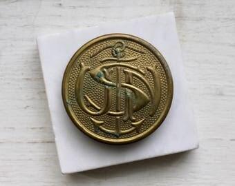 US Navy Cap, Vintage Anchor, Nautical Salvage, Vintage Navy Souvenir, Brass Anchor, Lettering, Assemblage Supplies, Patina