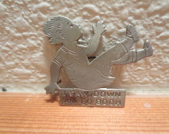 Antique Etched Brooch / I Faw Down An' Go Boom / 1920s song / Vtg Etched Child Pin / Nursery Rhyme / C clasp closure / whimsical brooch