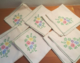 "Set of 6 Cotton Cross Stitched Napkins / Embroidered Floral Napkins / Cross Stitched Pansies / 16"" x 16"" /"