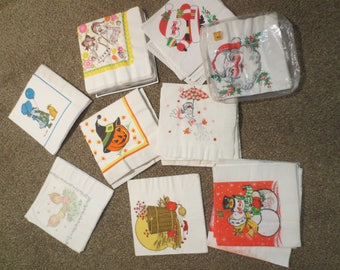 Vintage Holiday Napkins Opened Packages /  Santa / Halloween / Holly Hobby / Valentines