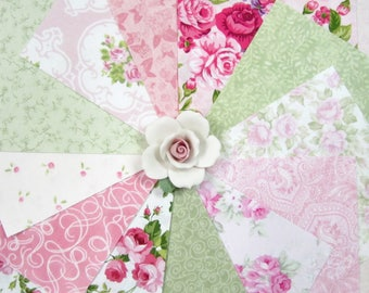 100~5 Inch Squares~Gorgeous Collection~Pink & Green Fabric~Roses~Paisley and More~F#8