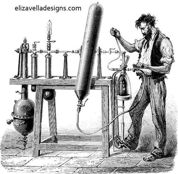 Man working vintage machines inventions printable art illustration png clip art Digital Image Download people working