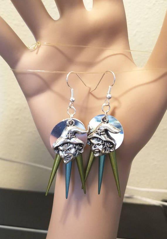 green silver witch face chandelier earrings halloween earrings spike drop charms goth punk handmade jewelry