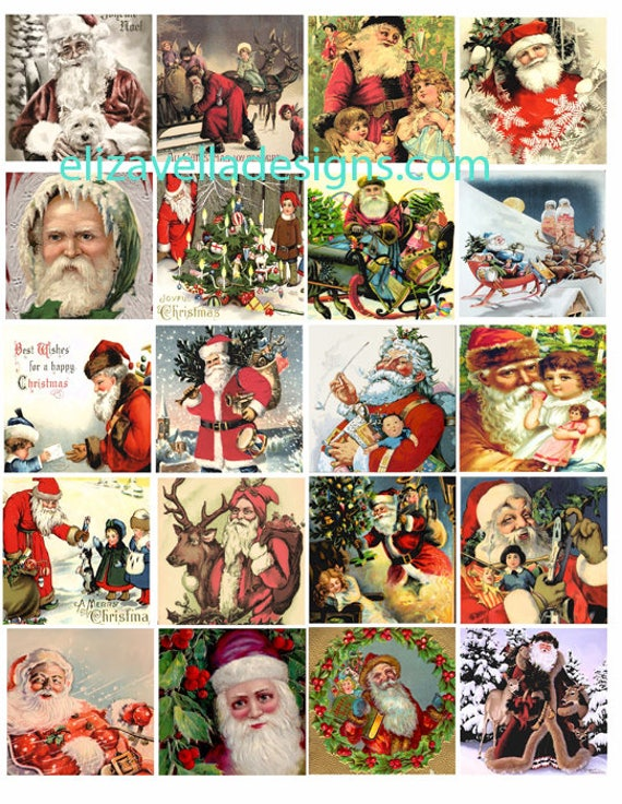 VINTAGE Classic victorian old world Santa Claus christmas art COLLAGE SHEET 2 inch digital download graphics images pendants pins magnets