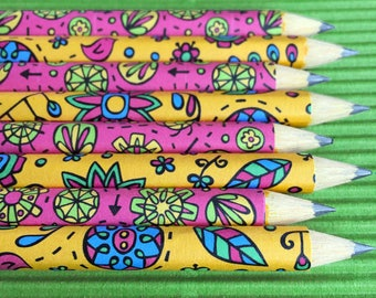 Mini Groovy Doodle Pencils (Secret Garden/Happy Trails)