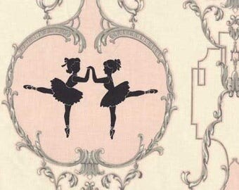 Arabesque Fabric by Anna Griffin Pirouette Ballerina Ballet Framed Girls in Tutu Tutus Pink and cream