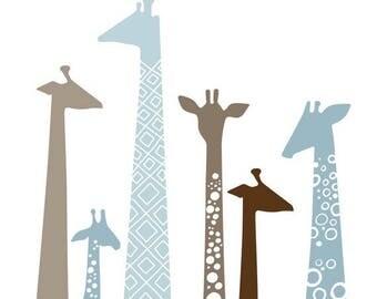 """SUMMER SALE modern giraffes 8X10"""" giclée print on fine art paper. dusty blue & taupe brown."""