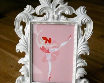 "SUMMER SALE 5X7"" ballerina arabesque giclée print. pink and red. redhead."