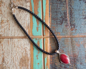 Vintage black leather woven necklace with silver detail and burgundy enamel and silver pendant