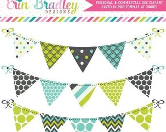 80% OFF SALE Bunting Banner Flag Clipart Commercial Use Clip Art Graphics Lime Blue Charcoal Instant Download
