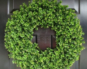 SUMMER WREATH SALE Year Round Wreath, Artificial Boxwood Door Wreath, Front Door Spring Wreath, Fall Wreath, 20 Inch