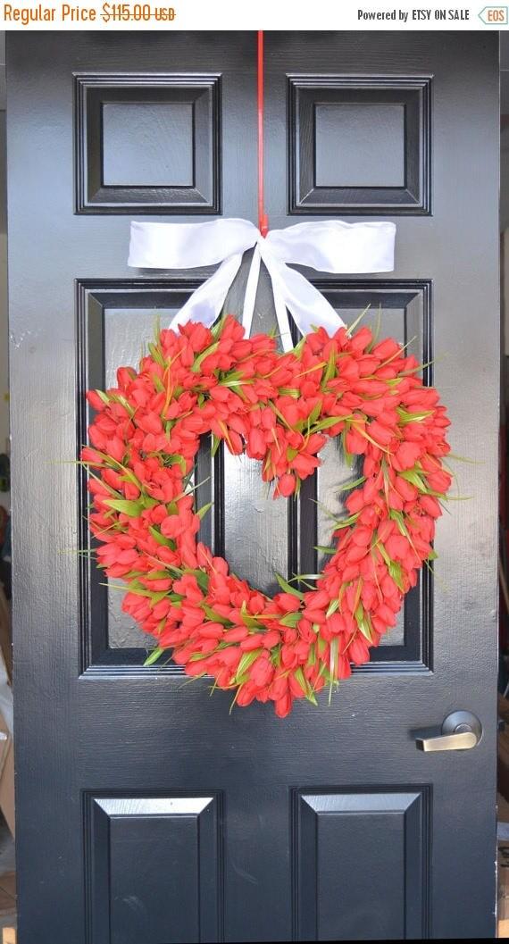 SUMMER WREATH SALE Red Tulip Heart Wreath  Valentine's Day Wreath  Heart Valentine Decor  Valentines Day Gift  Wedding Gift Wedding Decor Sp