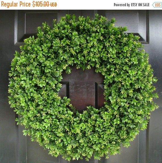SUMMER WREATH SALE Year Round Wreath, Artificial Boxwood Door Wreath, Front Door Spring Wreath, Fall Wreath, 20 Inch