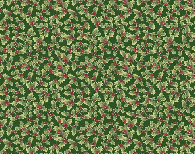 CHRISTMAS FABRIC, Anne of Green Gables Holly Berry Cotton Fabric by Penny Rose 44 inches wide