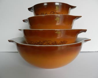 Pyrex Old Orchard Bowl Set, 1970s Brown Pyrex, Brown Pyrex Bowls, Pyrex Old Orchard,