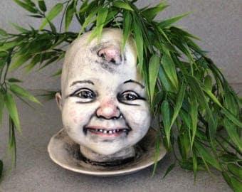 Creepy kid doll head planter, Frankenstein's Creation, Halloween prop 01011818