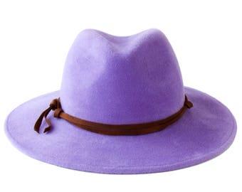 Wide Brimmed Hat Women's Fedora Hat Spring Fashion Spring Accessory Lilac Hat Pastel Color Lavender Purple Hat Women's Spring Hat Felt Hat