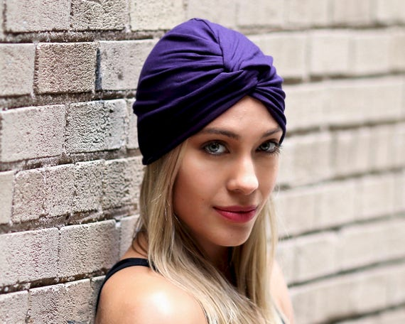 Purple Turban Hat Chemo Turban Women's Turban Hat Hair Covering Scarf Beach Coverup Chemo Cap Hair Scarf Fashion Turban 1940s Chemo Hat