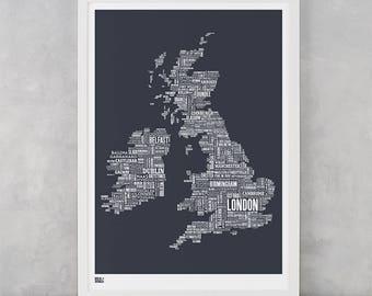 UK Map Print, UK Type Map Screen Print, British Isles Font Map, British Isles Word Map, British Isles Artwork, British Isles Art
