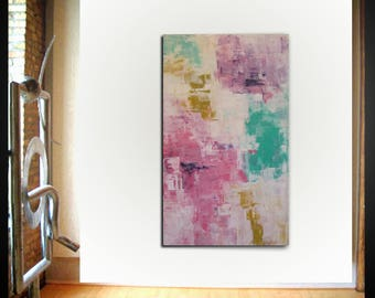 Original large abstract painting palette knife wall art deco by Elsisy 50x30 Free US shipping pink