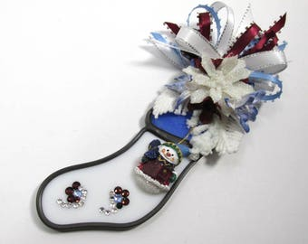 Dark Red Country Blue and White Snowman Stocking Christmas Decorated Stained Glass Ornament