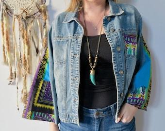 Dashiki Fabric Denim Bell Sleeve Jacket Bohemian Upcycled Eco Friendly Festival Jean Jacket/Coat Size Medium/Large