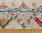 Vintage handkerchief border fabric Cotton lawn 8 inch wide border 2 yds. 20 in. 58 inches wide Sold as one piece