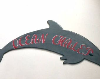 Huge outdoor dolphin anchor whale custom house name sign beach home lake family name sign cottage housewarming Beach House Dreams OBX