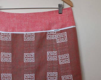 squares in white...vintage tablecloth A line skirt with yoke waistband