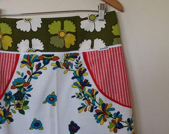 springtime...vintage fabric A line skirt with patch pockets