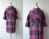 Upton Plaid wool coat | vintage 1960s coat | plaid wool 60s coat