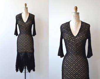 Wicked Ways dress | vintage 1930s knit dress | 30s crochet dress