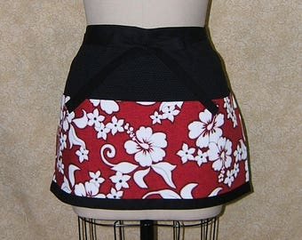 Red Hawaiian apron half apron deep pockets 3 section frontpocket cotton lined black red white bold hibiscus flowers hawaii island islander