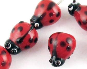 Ladybug Glass Lampwork Beads-Red and Black 10x13mm (15 Pcs)