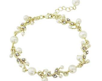 Pearl leaf bracelet bridal vintage style crystal pearl fine bracelet Downton Abbey, wedding jewellery