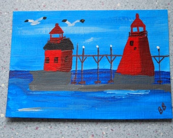 Original ACEO- Grand Haven Michigan Lighthouse