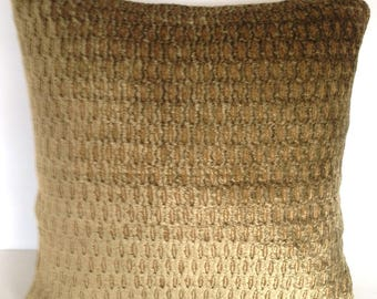 """18"""" x 18"""" Square Throw Pillow Cover Chenille Velvet Olive Brown Gold French Country English Cottage Shabby Chic"""