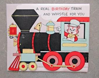 Vintage Birthday Card, Train Card, Child Birthday Card, 3D Greeting Card, Vintage Greeting Card, Juvenile Birthday Card, Railroad Theme