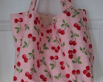 Market Bag, Cherries, Picnics, Foodie, Subway Bag, Grocery Bag, 100s Fabric Choices