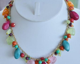 "ON SALE Colorful Vintage Plastic Beaded Charm Necklace, Heart, Gold tone, Adjustable, 16""-18-1/2"" (C10)"