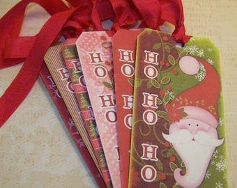 Christmas Santa Tags Whimsical Santa Christmas Cute Santa Christmas Tags  - Set of 6