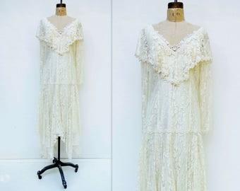 Flapper Wedding Dress Boho Wedding Dress 80s Wedding Dress Lace Wedding Dress Tea Length Wedding Downton Abbey Dress Handkerchief Hem L