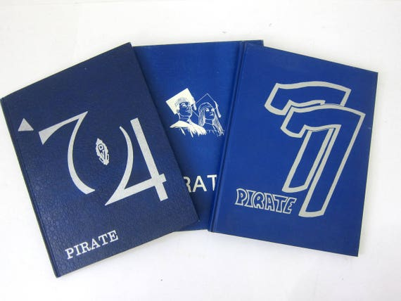 vintage 1970s Yearbooks Oxford Junction Iowa High School The Pirate Year Book 1974 1976 1977 Retro Blue and White Hardcover Books