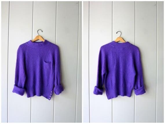 Purple SILK Sweater Fuzzy Angora Sweater Vertical Rib 80s Sweater Slouchy Ribbed Mock Neck Sweater Minimal Modern Womens Medium Large
