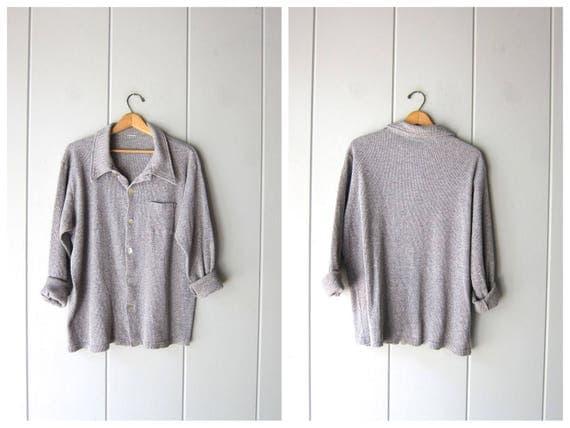 Gray Thermal Shirt Ribbed Henley 90s Long Underwear Shirt Grunge Button Up Grey Shirt Oversized Minimal Rib Shirt Vintage Womens XL