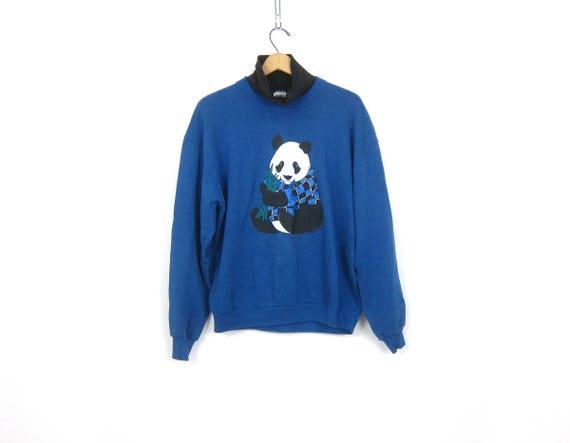 Blue PANDA sweatshirt 1980s Animal shirt Casual Jumper Novelty Indie Hipster Sweater Women's Size Medium Large